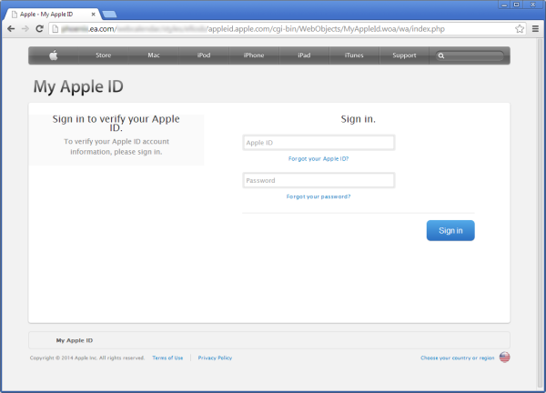 EA Games website hacked; Phishing page hosted to steal Apple IDs