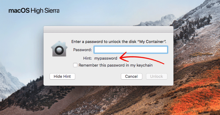 Apple macOS High Sierra Bug Exposes Passwords of Encrypted APFS Volumes As Hint