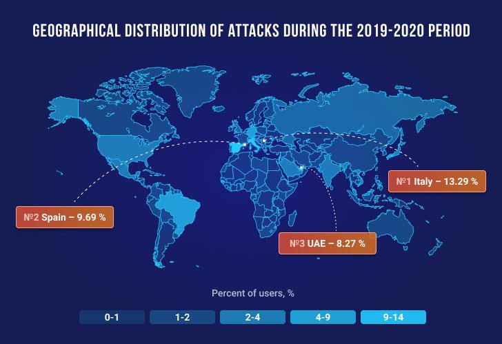 Ataques de malware bancario de Emotet en el mapa