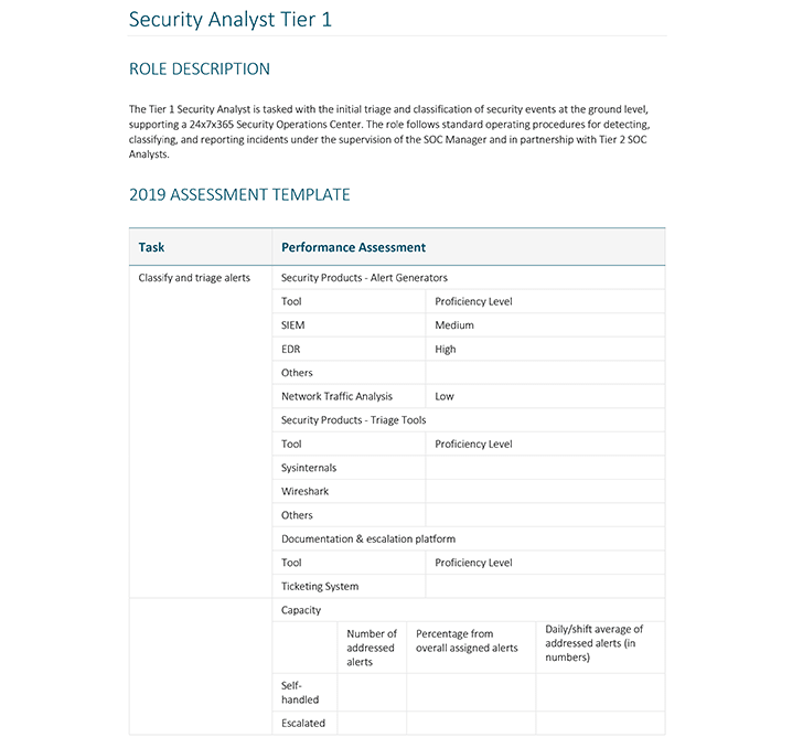 Security Team Assessment Template