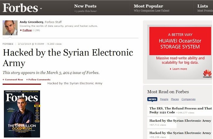 Forbes Hacked by Syrian Electronic Army; Website and Twitter accounts were compromised