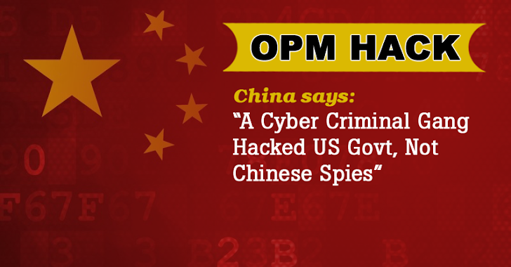 China: OPM Hack was not State-Sponsored; Blames Chinese Criminal Gangs