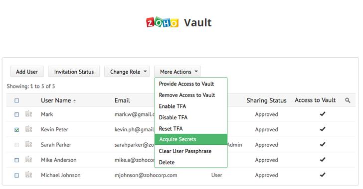 Zoho Vault Password Management Software