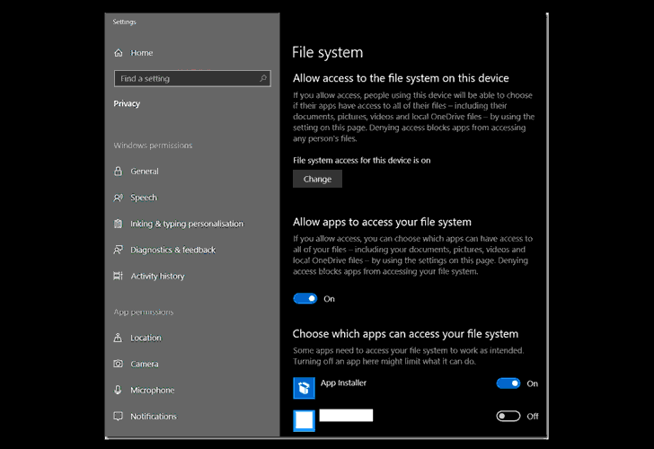windows 10 app permission settings