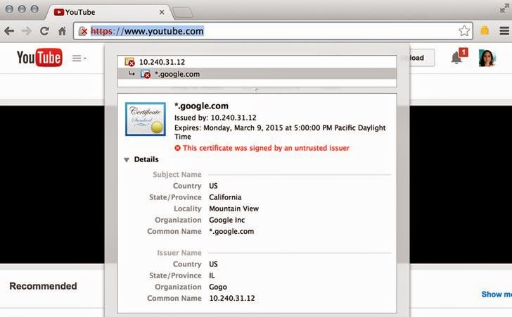 Gogo Inflight Internet issues Fake SSL certificates to its own Customers
