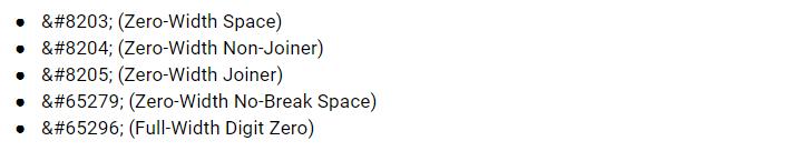 zero width spaces