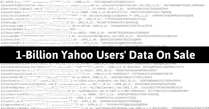 1-Billion Yahoo Users' Database Reportedly Sold For $300,000 On Dark Web