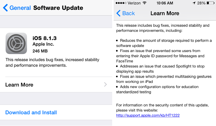 Apple Releases iOS 8.1.3
