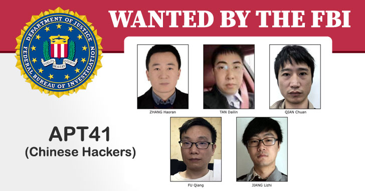 FBI adds 5 Chinese APT41 hackers to its Cyber's Most Wanted List