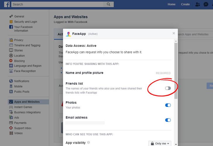 facebook faceapp settings