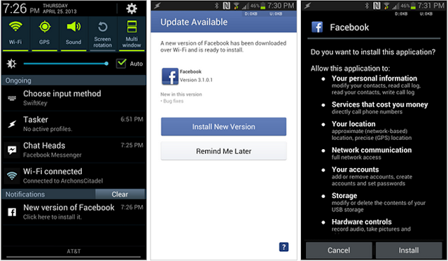 Google bans Facebook and other self updating Android apps