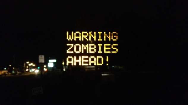 """Warning Zombies Ahead!"" - Road sign board Hacked"
