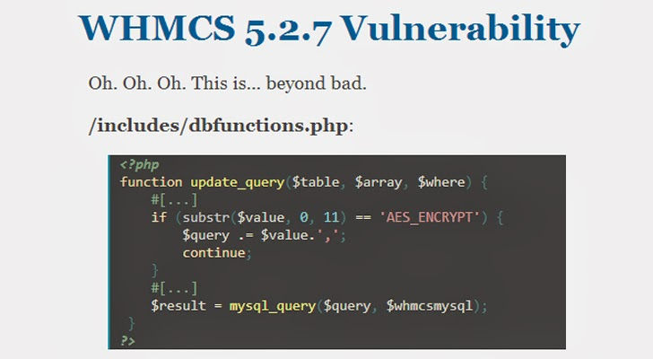 Web Hosting software WHMCS vulnerable to SQL Injection; emergency security update released