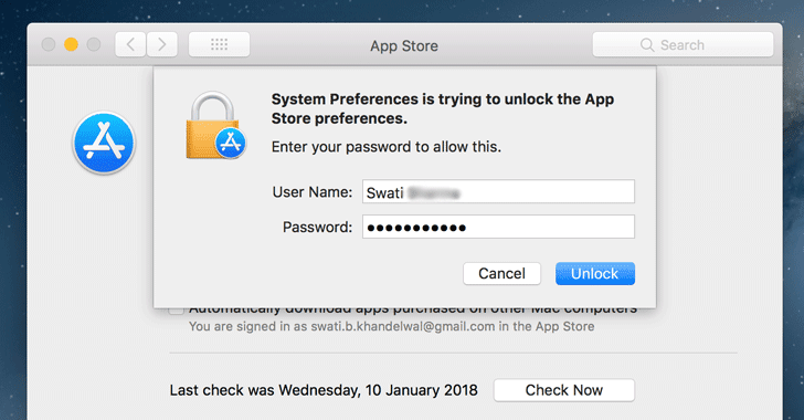 [Bug] macOS High Sierra App Store Preferences Can Be Unlocked Without a Password
