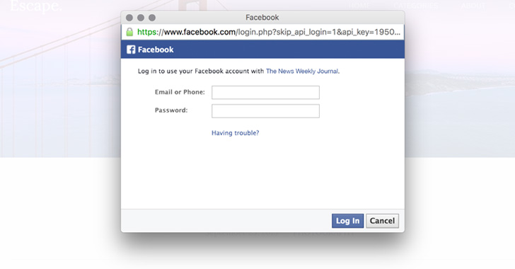 facebook phishing login page