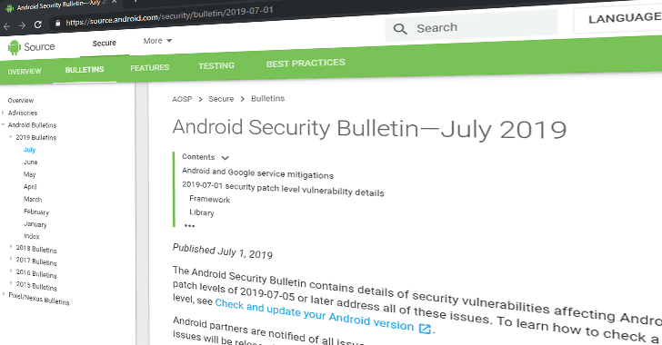 Android July 2019 Security Update Patches 33 New Vulnerabilities