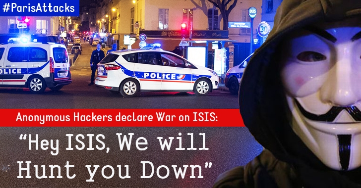 #ParisAttacks — Anonymous declares War on ISIS: 'We will Hunt you Down!'