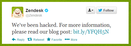 "Zendesk security breach, ""We've been hacked"""