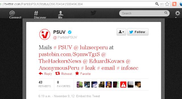 United Socialist Party of Venezuela's twitter account hacked