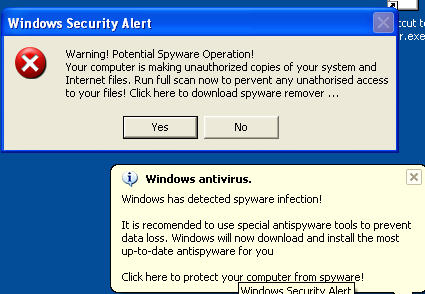 Fake antivirus pop-ups hacking into computers !