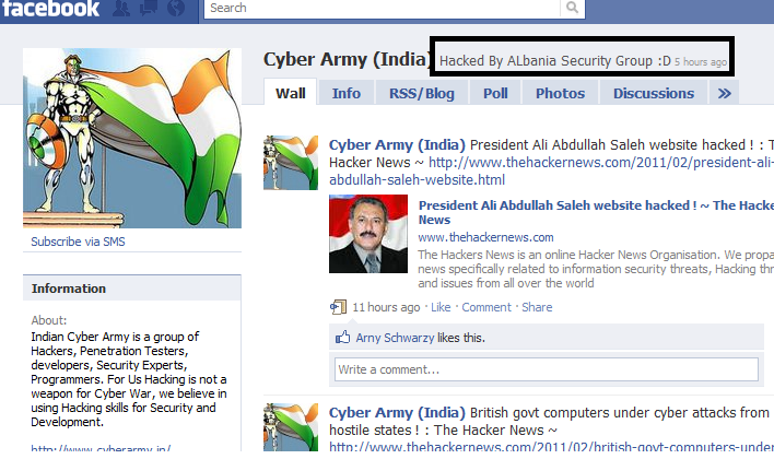TheHackerNews and CyberArmy(India) Facebook Pages Hacked By Albania Security Group !